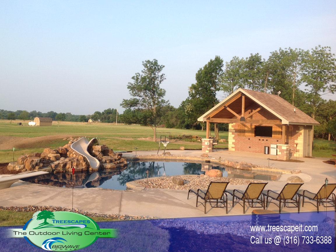 Custom Gunite pool With Pool house