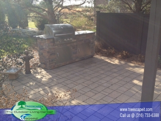 Custom Paver Patio and Grill Island