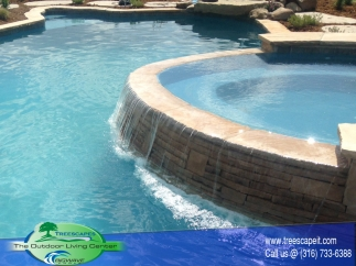 Custom Gunite Pool with Spill over Spa