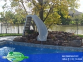 Vinyl Pool With Rock waterfall and Slide